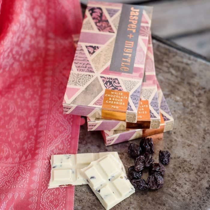 White Choc with Sour Cherries Chocolate Bar